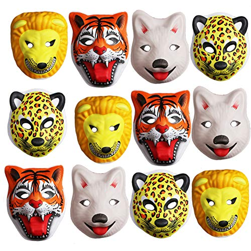 Jungle Safari Zoo Themed Party Animal Mask Full Face Party Favors Supplies:Tiger, Lion, Fox and Leopard for Boys Birthday, Baby shower or Home décor-12 pcs]()