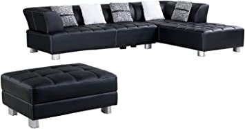 American Eagle Furniture Aventura Collection Faux Leather Sectional Sofa  with Ottoman, Black