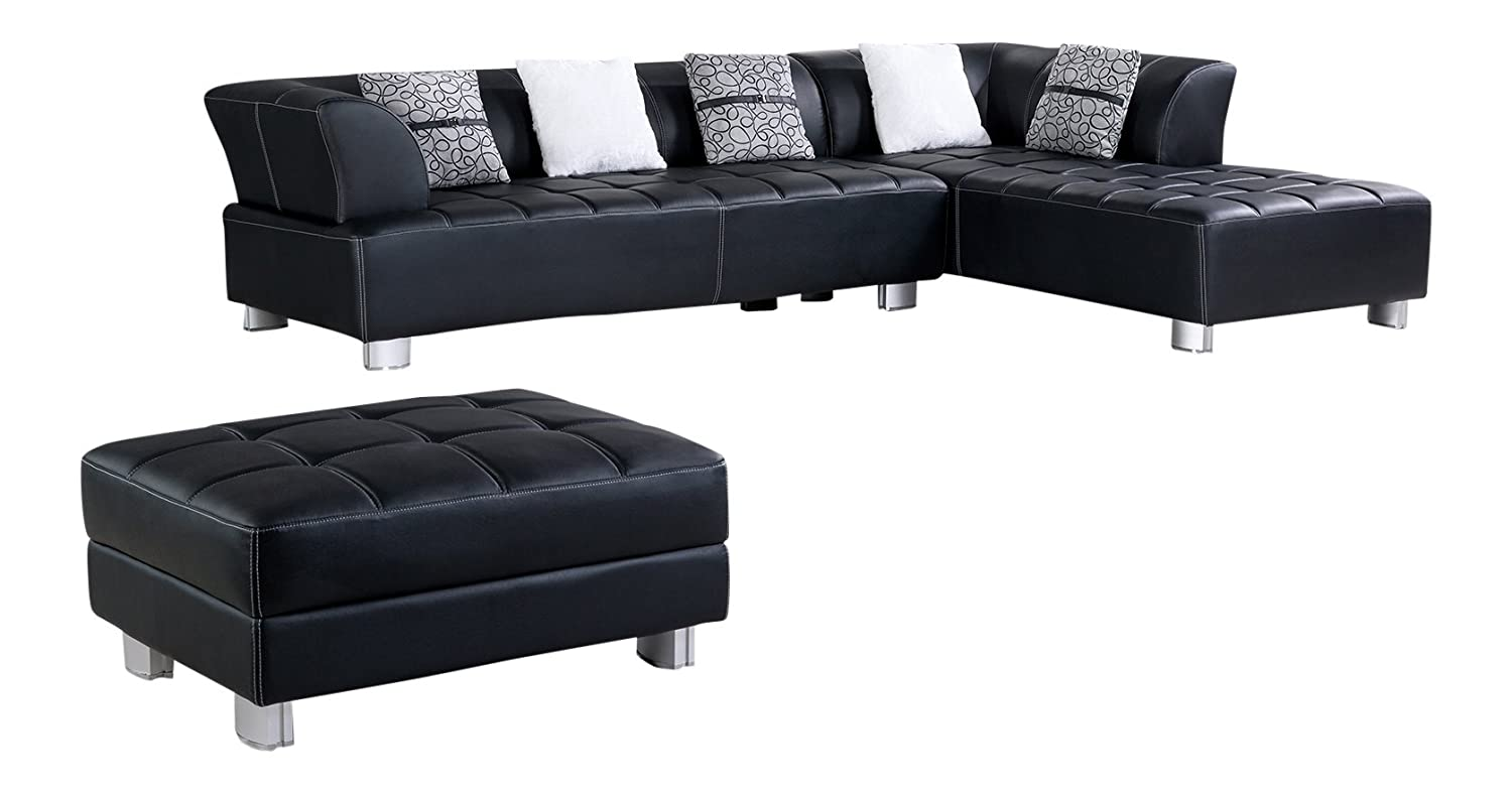 Super American Eagle Furniture Aventura Collection Faux Leather Sectional Sofa With Ottoman Black Ncnpc Chair Design For Home Ncnpcorg