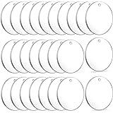 Acrylic Keychain Blanks, Audab 50pcs Clear Keychains for Vinyl, Acrylic Transparent Circle Discs Acrylic Blanks Keychain Bulk