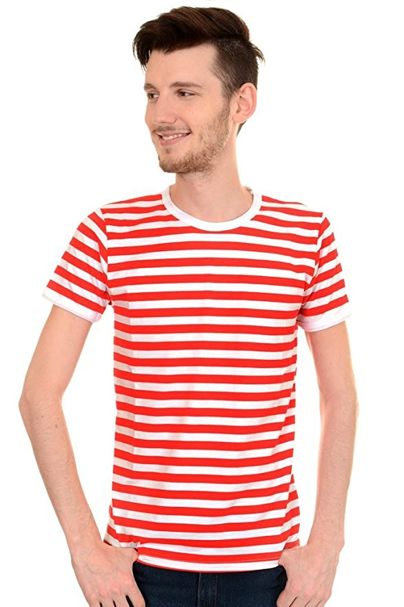 1940s Style Mens Shirts  60s Red & White Striped Short Sleeve T Shirt $22.95 AT vintagedancer.com