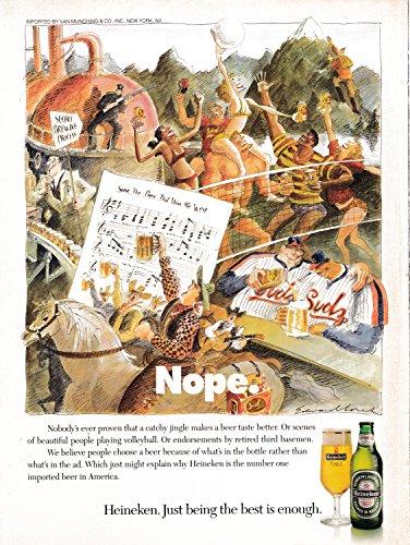 - 1978 Heineken Beer-Cowboys-Babes in Bikinis-Baseball-Secret-Original Magazine Ad