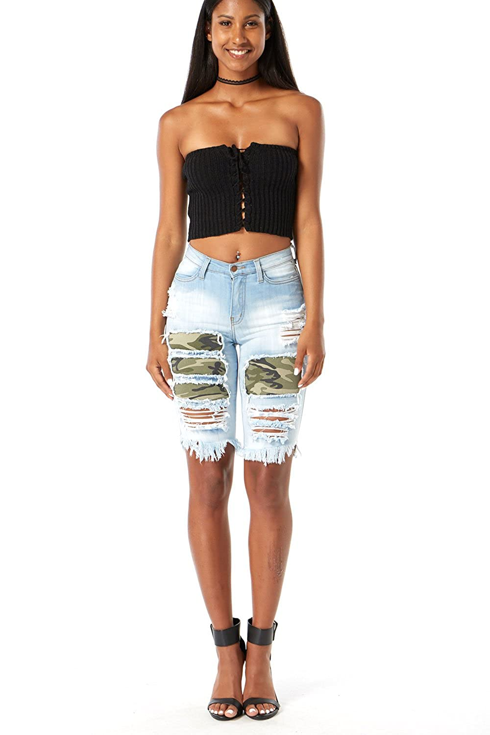 d75e625d65 low-cost Edgelook Distressed All Over with Camo Bermuda Shorts ...