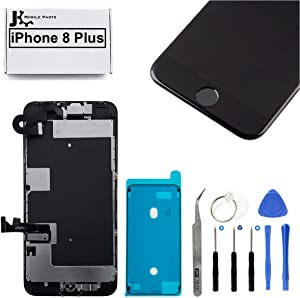 Full Screen Replacement LCD 3D Touch Assembly Front Camera Ear Speaker Home Button with Frame Adhesive and Repair Tools for iPhone 8 Plus 5.5 inch (Black)