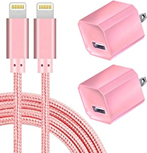Boost Chargers 5V USB Wall Charger Power Adapter 1A Cube for Plug Outlet w/ 10FT Nylon Braided Charging Pad Cable Cord (Pink) 2 Pack