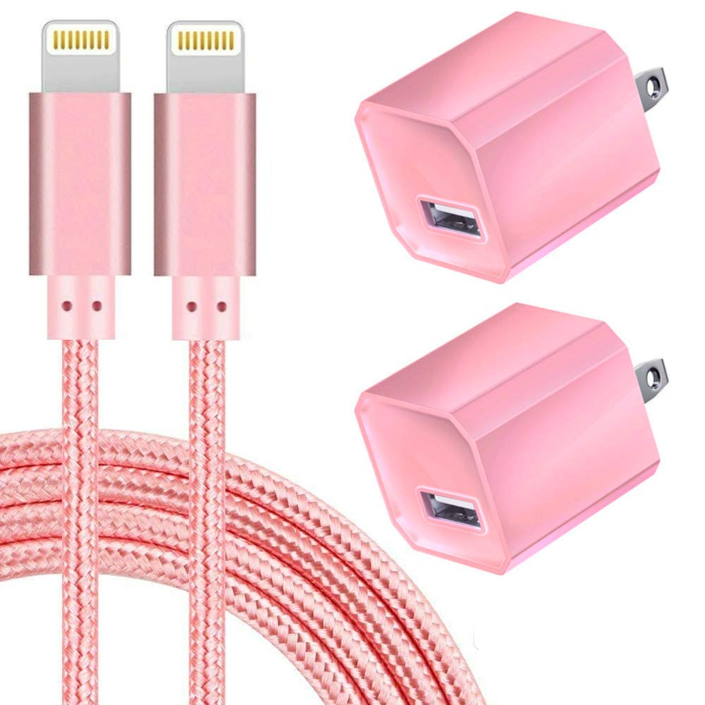 Boost Chargers 5V USB Power Charger Wall Adapter 1A Cube for Plug Outlet w/ 10FT Nylon Braided Charging Pad Cable Cords, 2-Pack, Pink