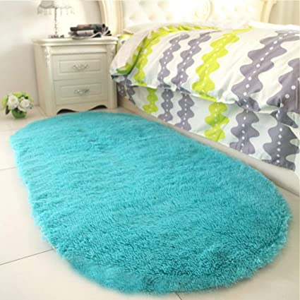Amazon Com Yj Gwl High Pile Soft Shaggy Turquoise Blue Rug For