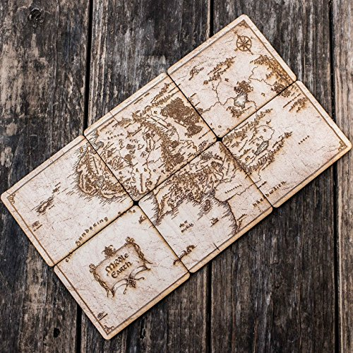 Map of Middle Earth Wood Coaster Set 4x4in Raw Wood