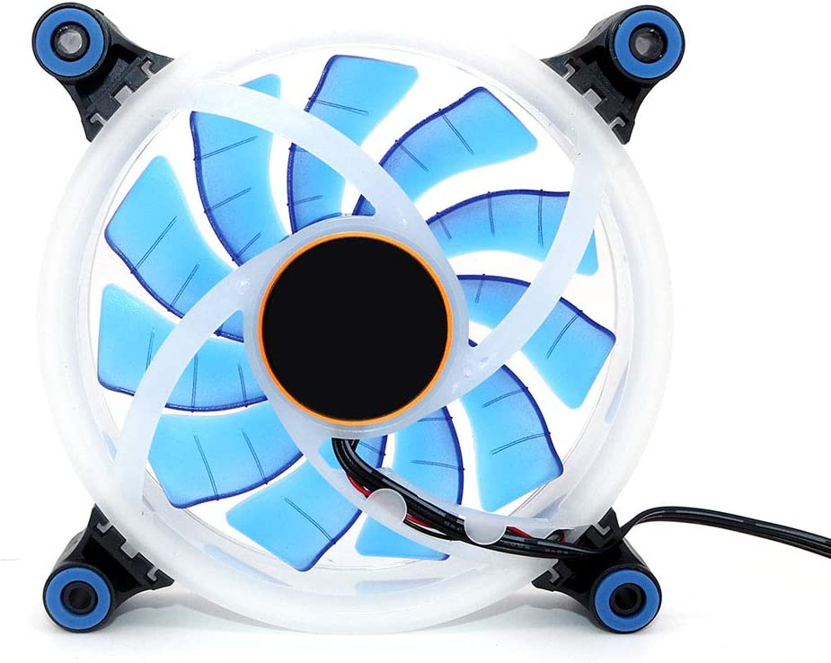 Blue WINGONEER Computer LED Fans Double-Sided Computer Power Supply Fan Aurora LED Light Chassis Fan Cooler Fans
