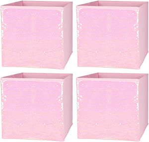 ELUCHANG Foldable Sequin Storage Basket Bin Closet Organizer Cubes Boxes for Nursery Home Drawer Organizer Clothes(4PCS,Pink)