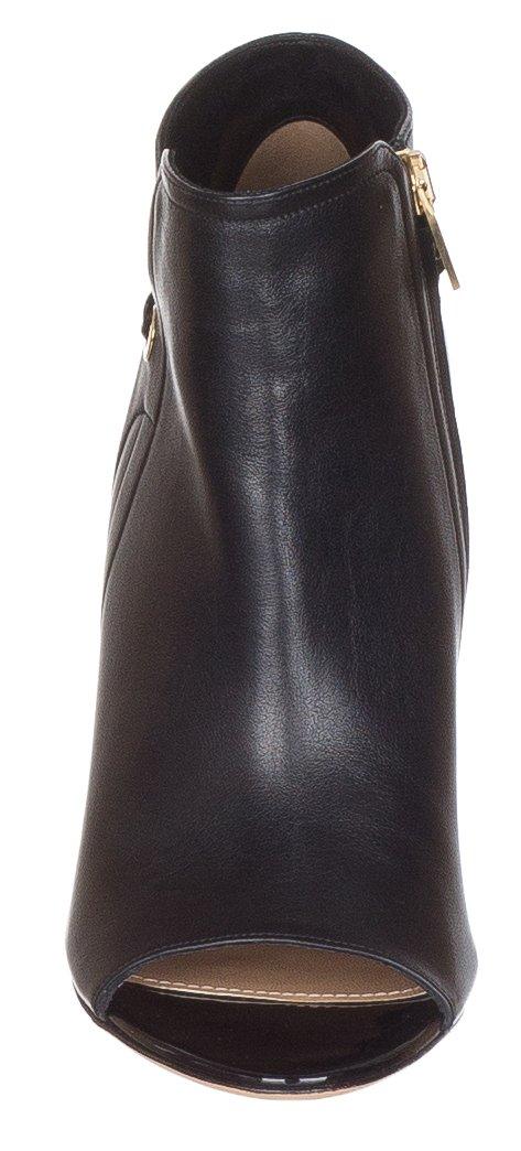 Salvatore Ferragamo Women's Mako Leather Ankle Chain Trimmed Peep Toe Ankle Leather Boots Shoes B075JXNBR7 7 M US|Black 443efa