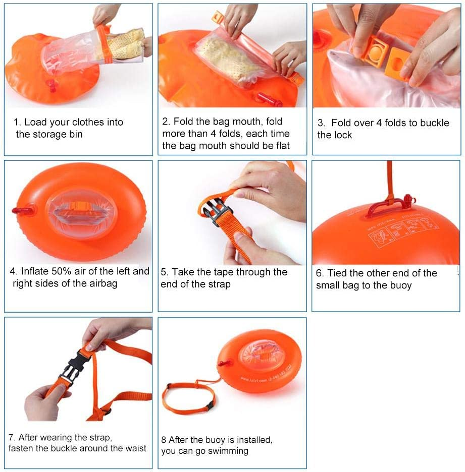 Inflatable Buoy Safety Float Waterproof Clothes Air Dry Bag Open Water Swimming