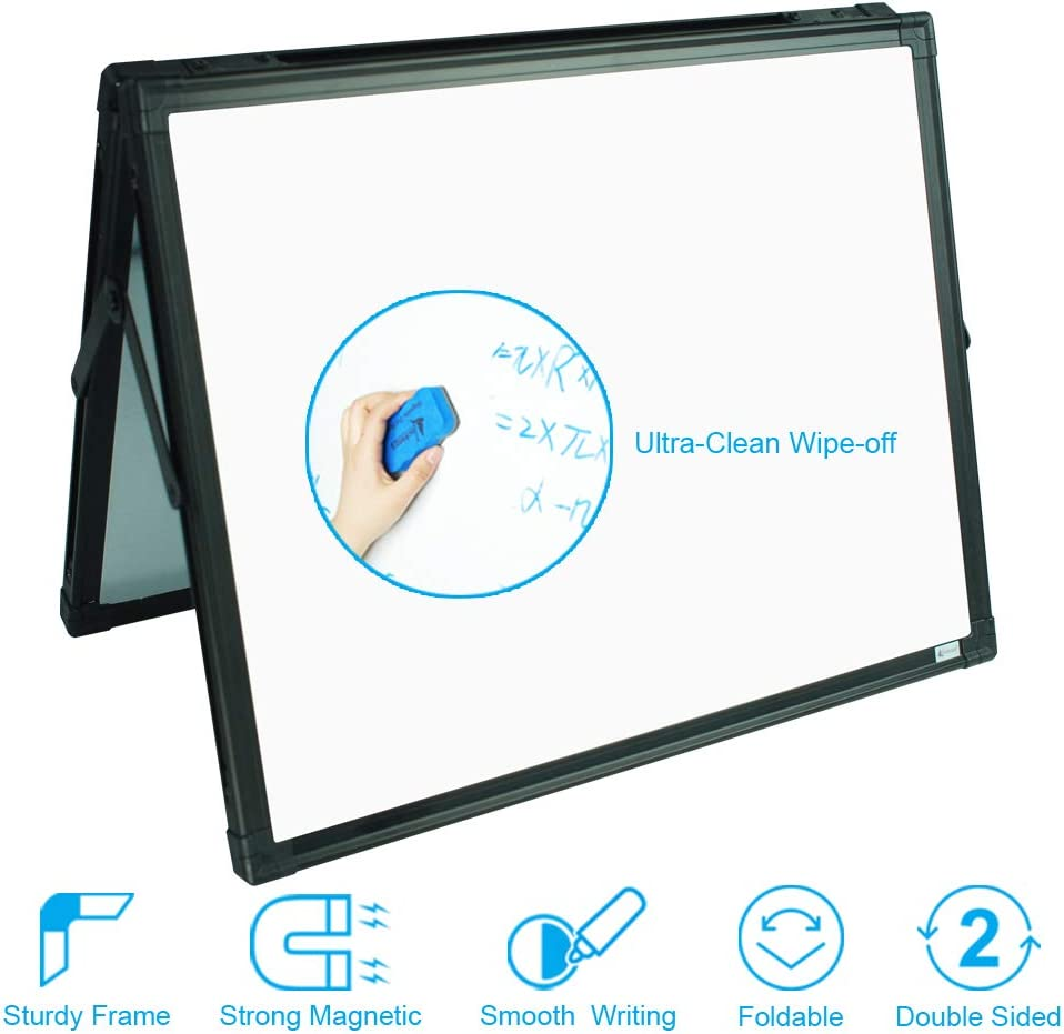 Lockways Small Dry Erase Board – Foldable Magnetic White Board Double-Sided Desktop 15 x 12 Inch, Black Aluminium Frame Wall Mounted Board for Office Home and School : Office Products