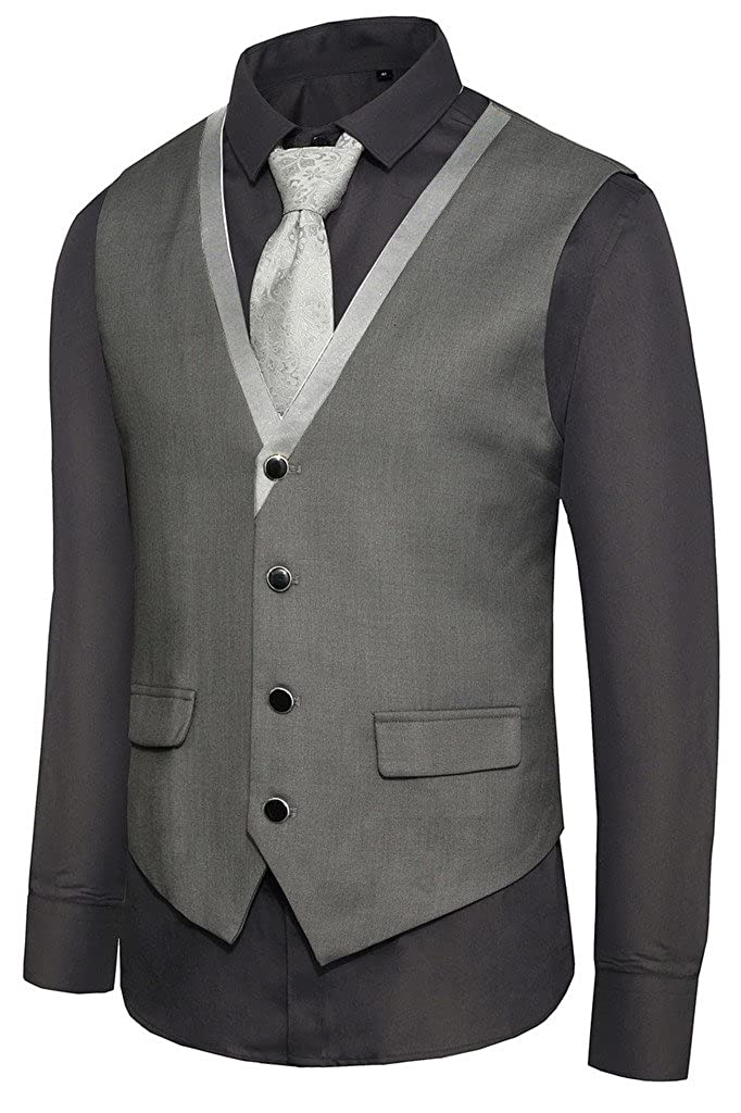 Hanayome Men's Formal Slim Fit Premium Business Dress Suit 4 Button Vests VS04 VS04D1