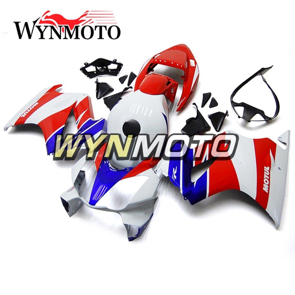 WYNMOTO ABS 射出成形金型フルフェアリングキットカウホンダ VFR800 2002 - 2012 レッドホワイトブルーは、新しいボディをカバーします。   B07BNB2M3V