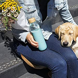 Soma Glass Water Bottle – Eco-Friendly Alternative to Bottled Water – BPA Free 17oz – Stay Hydrated – Wide Mouth – Shatter-Resistant Borosilicate Glass (Mint)