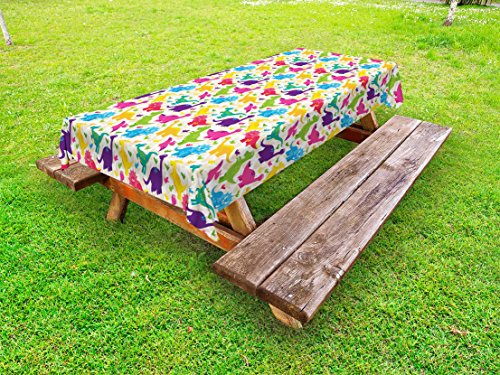 "Ambesonne Dino Outdoor Tablecloth, Dinosaurs Pattern Baby Childish Playroom Nursery Toddler Wild Caricature Design, Decorative Washable Picnic Table Cloth, 58"" X 84"", Multicolor"