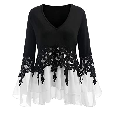 2a05cab558df0 Womens Fashion Flowy Blouse V-neck Applique Color Block Print Flare Sleeve  Party