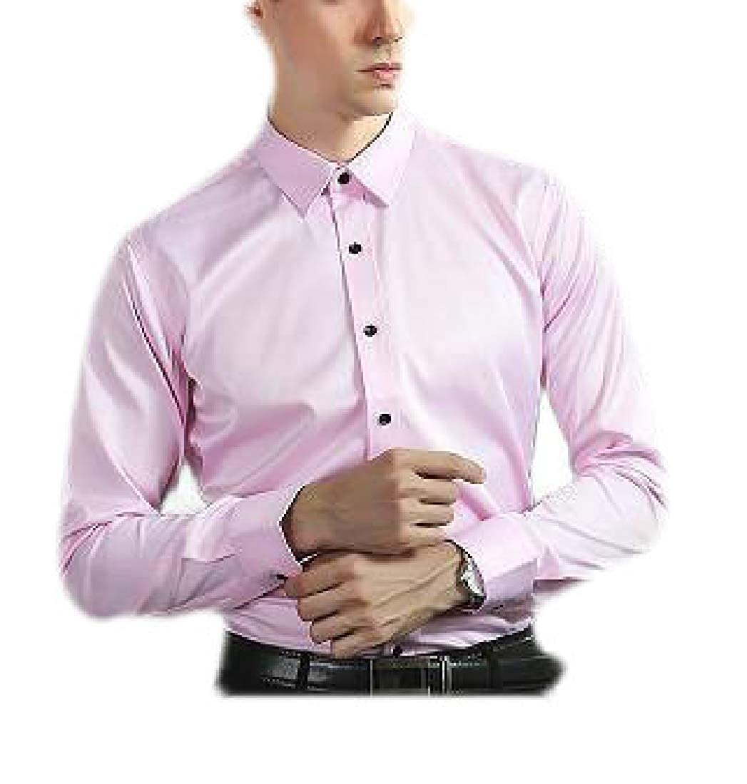 YYear Men Long Sleeve Faux Silk Solid Stretchy Wear to Work Shirt Blouse Top