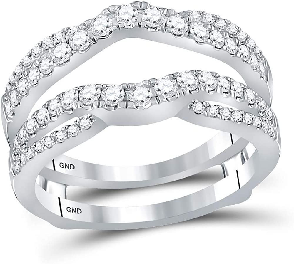 Sonia Jewels 14k White Gold Round Diamond Ring Guard Wrap Ring Guard Enhancer (5/8 Cttw)