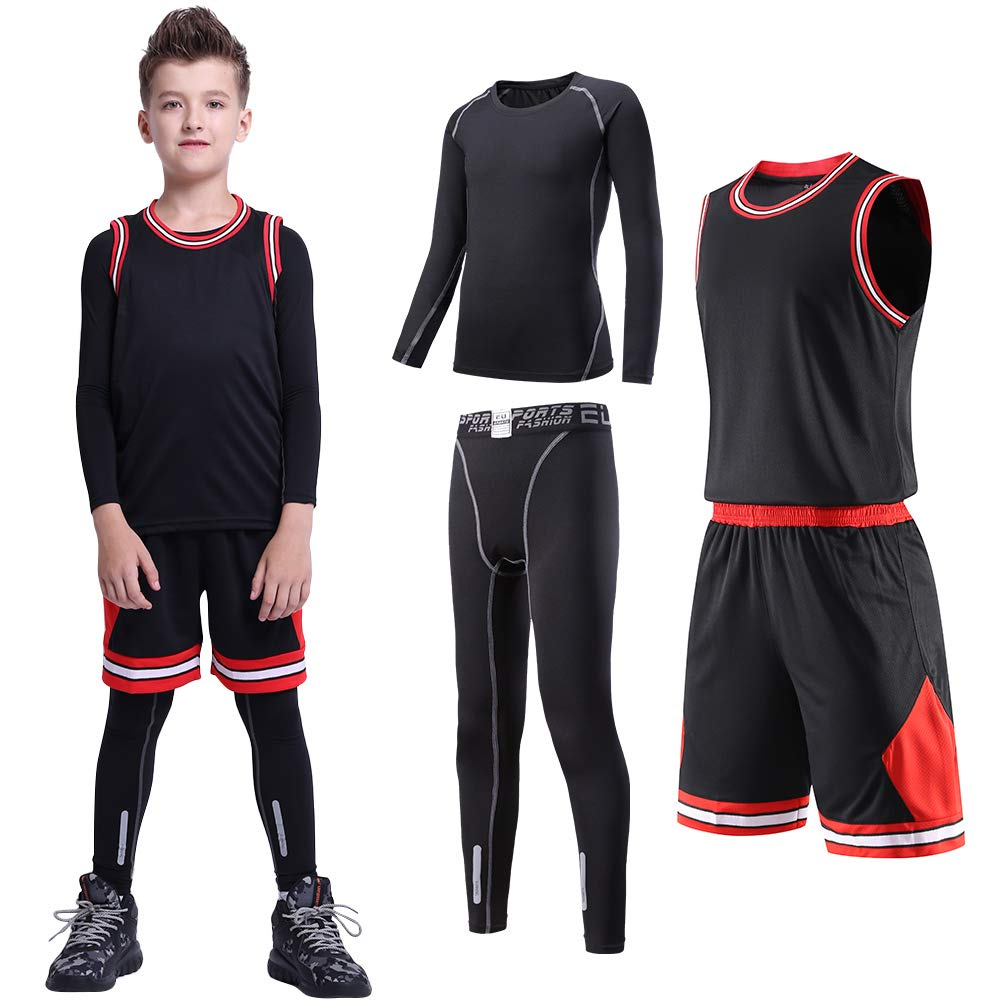 4 Pcs Boys Girls Athletic Compression Pants and Shirts Running Tights Leggings Thermal Underwear Set