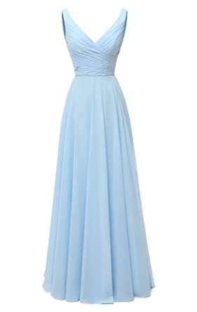 feaa48d46395 AlfaBridal Long Bridesmaid Dresses Double V Neck Chiffon Wedding Evening  Gown Baby Blue US2