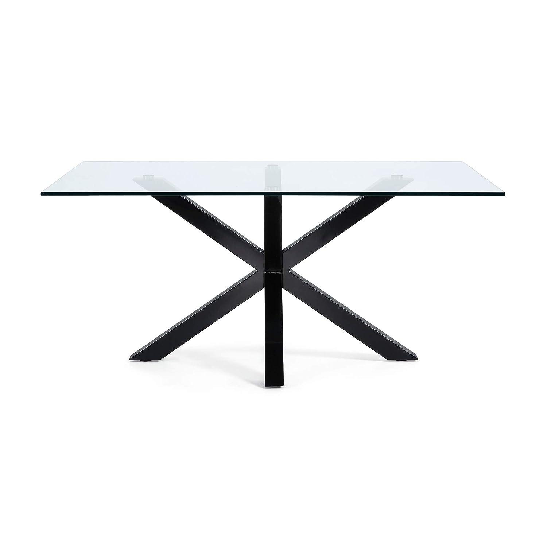 Tavolo Argo 160 cm cristallo gambe nero Kave Home