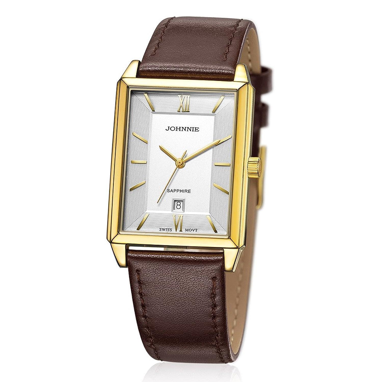 Herren Classy Vintage Necklaces Halskette Rechteck Fall Leder Band Luxus Kleid Armbanduhr