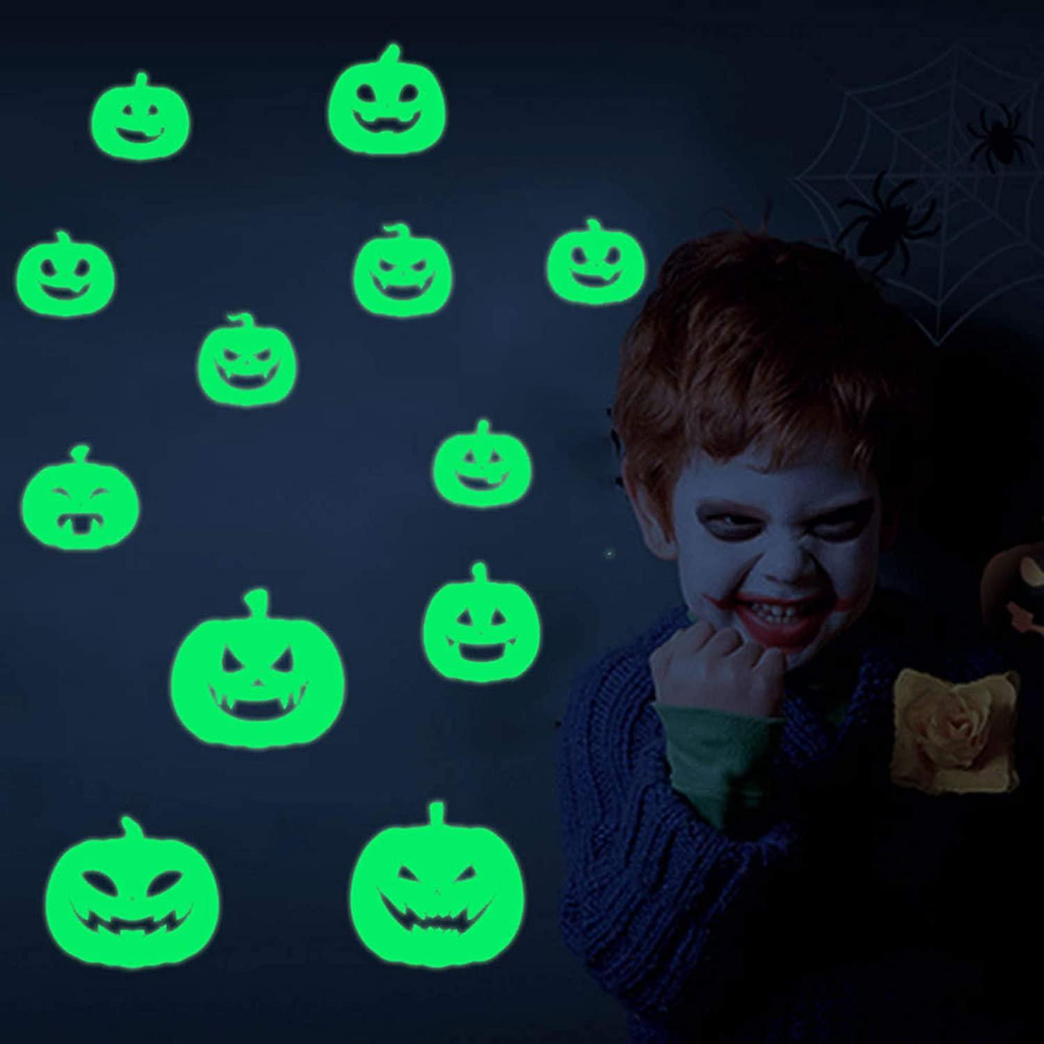 76 Peieces Halloween Pumpkin Decorations Luminous Stickers Waterproof Party Wall Decals Removable Glow Sticker