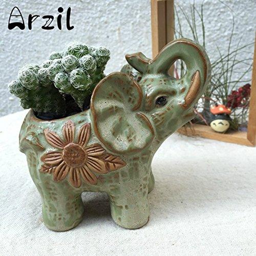 GreenSun(TM) Storage Box Jar Ceramic Elephant Flower Pots Planter Succulent Plant Pot Flower Bonsai Garden Supplies Home Decoration (Aqua Ceramic Bonsai Pot)