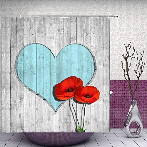 Heart Shower Curtain (Feierman Red Poppy Shower Curtain Vintage Gray Heart Shaped Wooden Board Bathroom Curtain 70x70Inches Fabric Waterproof Polyester with)