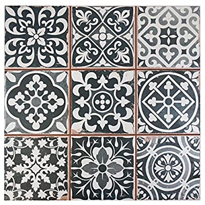 "SomerTile FPEFAEN Romania Ceramic Floor and Wall Tile, 13"" x 13"", Black"