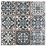 SomerTile FPEFAEN Romania Ceramic Floor and Wall Tile, 13'' x 13'', Black