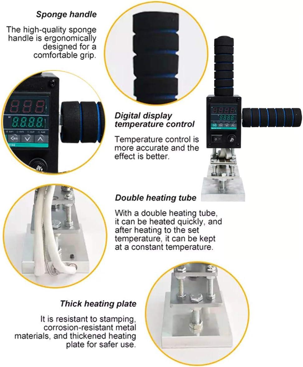 FDYD Bronceadores M/áquina 8x10cm Caliente Troqueladora de la Hoja con el Soporte y la Pantalla Digital troqueladora para PVC Cuero de la PU de Madera con el Logotipo Personalizado Libre de Sello