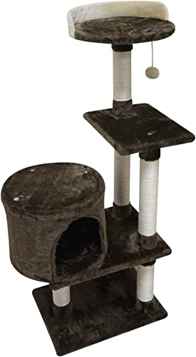 FISH NAP Cat Tree Cat Tower Cat Condo Sisal Scratching Posts with Jump Platform Cat Furniture Activity Center Play House Grey