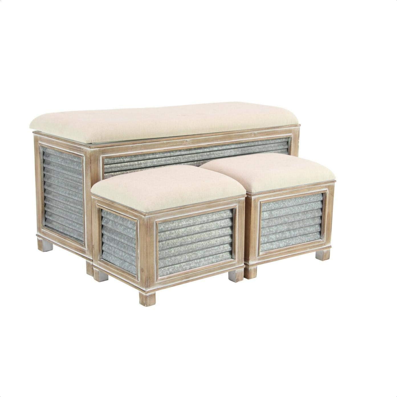 Amazon Com Wiggins Farmhouse Upholstered Storage Bench Kitchen Dining