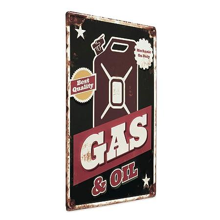 Photolini Cartel de Chapa Gas and Oil 30x40 cm Cartel de Metal Retro Lema Garaje Taller