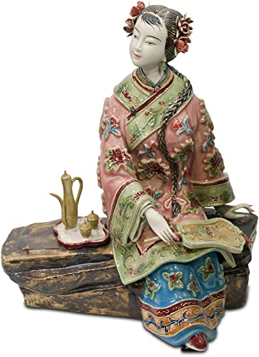 ChinaFurnitureOnline Chinese Porcelain Lady, Tea Drink Motif Pink