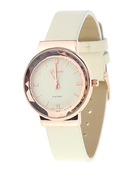 Geneva Reloj de pulsera de reloj japonés Caja de acero inoxidable. Marfil banda de piel sintética de solador: Amazon.es: Relojes