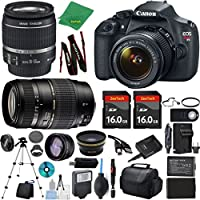 Canon Rebel T5 Camera + 18-55mm IS + Tamron 70-300mm AF + 2pcs 16GB Memory + Case + Reader + Tripod + ZeeTech Starter Set + Wide Angle + Telephoto + Flash + Battery + Charger