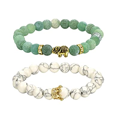 Amazon.com: 8mm Couple Bracelets Yoga Balancing Agate ...