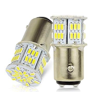 LncBoc 1157 BAY15D LED Bombilla 3014 54SMD Blanca LED para Automóvil para Las Luces de Reserva