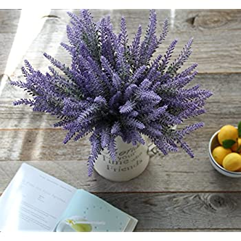 Artificial Lavender Flowers 4 large pieces to make a bountiful flower arrangement nearly natural fake plant to brighten up your home party and wedding decor (4 Pieces)