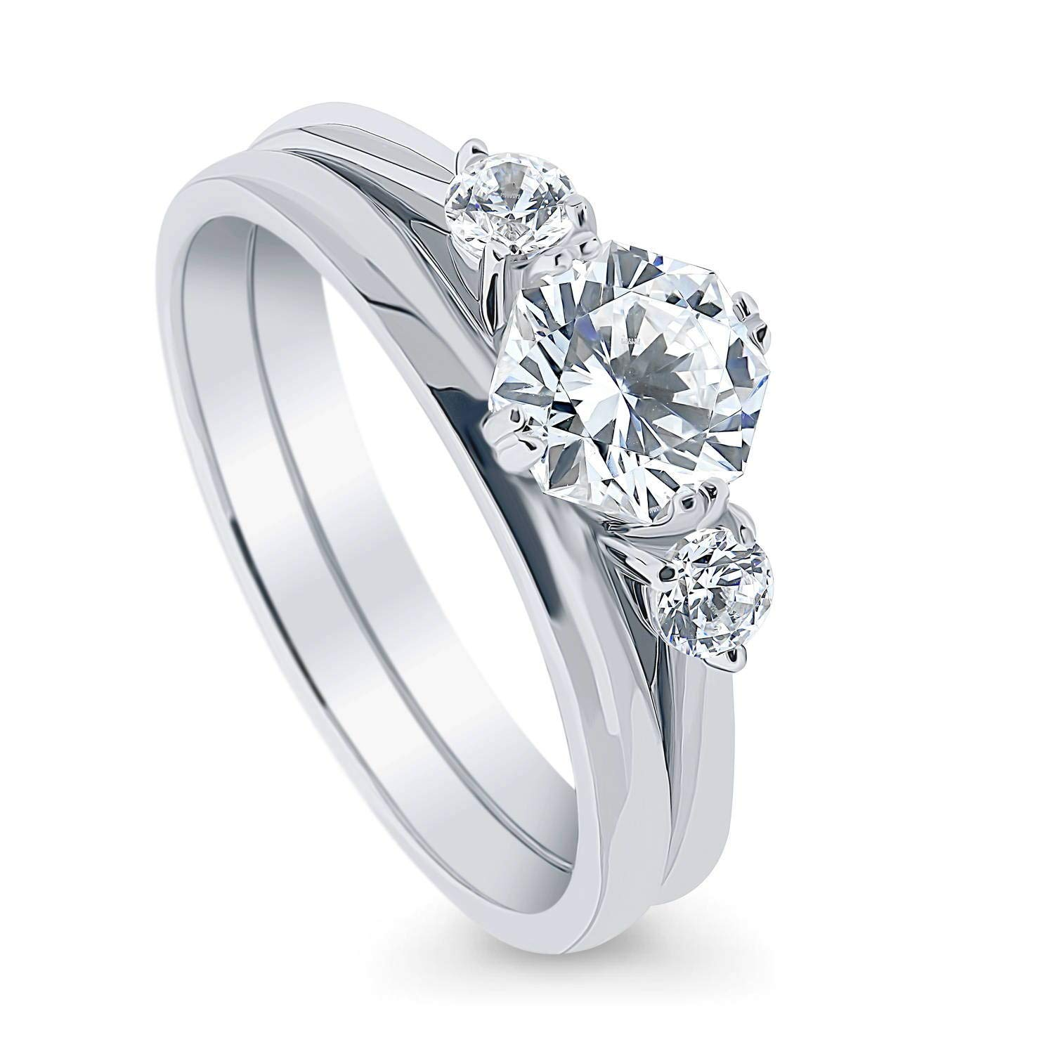 BERRICLE Rhodium Plated Sterling Silver 3-Stone Anniversary Engagement Wedding Ring Set Made with Swarovski Zirconia Octagon Sun Cut 1.47 CTW Size 7