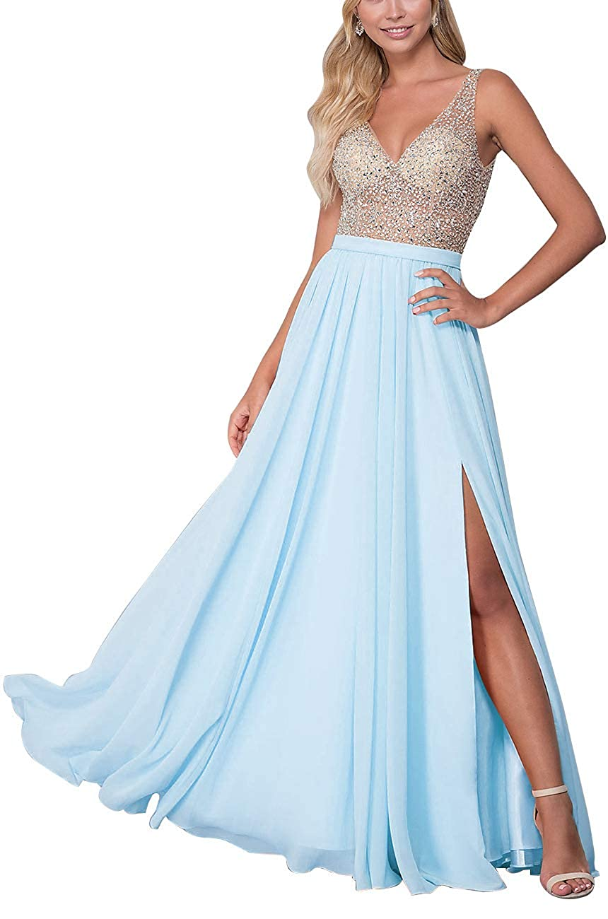 Sky bluee Staypretty Long Prom Gowns VNeck Beaded Formal Backless Evening Dresses for Women High Slit