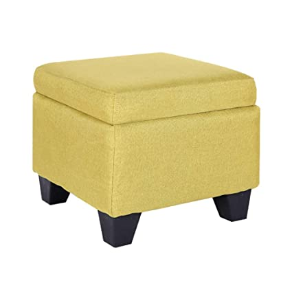 Zzaini Cube Storage Ottoman Linen Footstools Square Bench Upholstered  Footrest Stool Four Wooden Legs Non