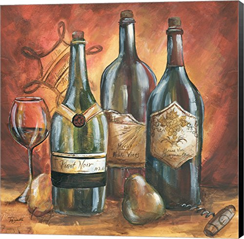 Red and Gold Wine I by TRE Sorelle Studios Canvas Art Wall Picture, Museum Wrapped with Black Sides, 22 x 22 inches