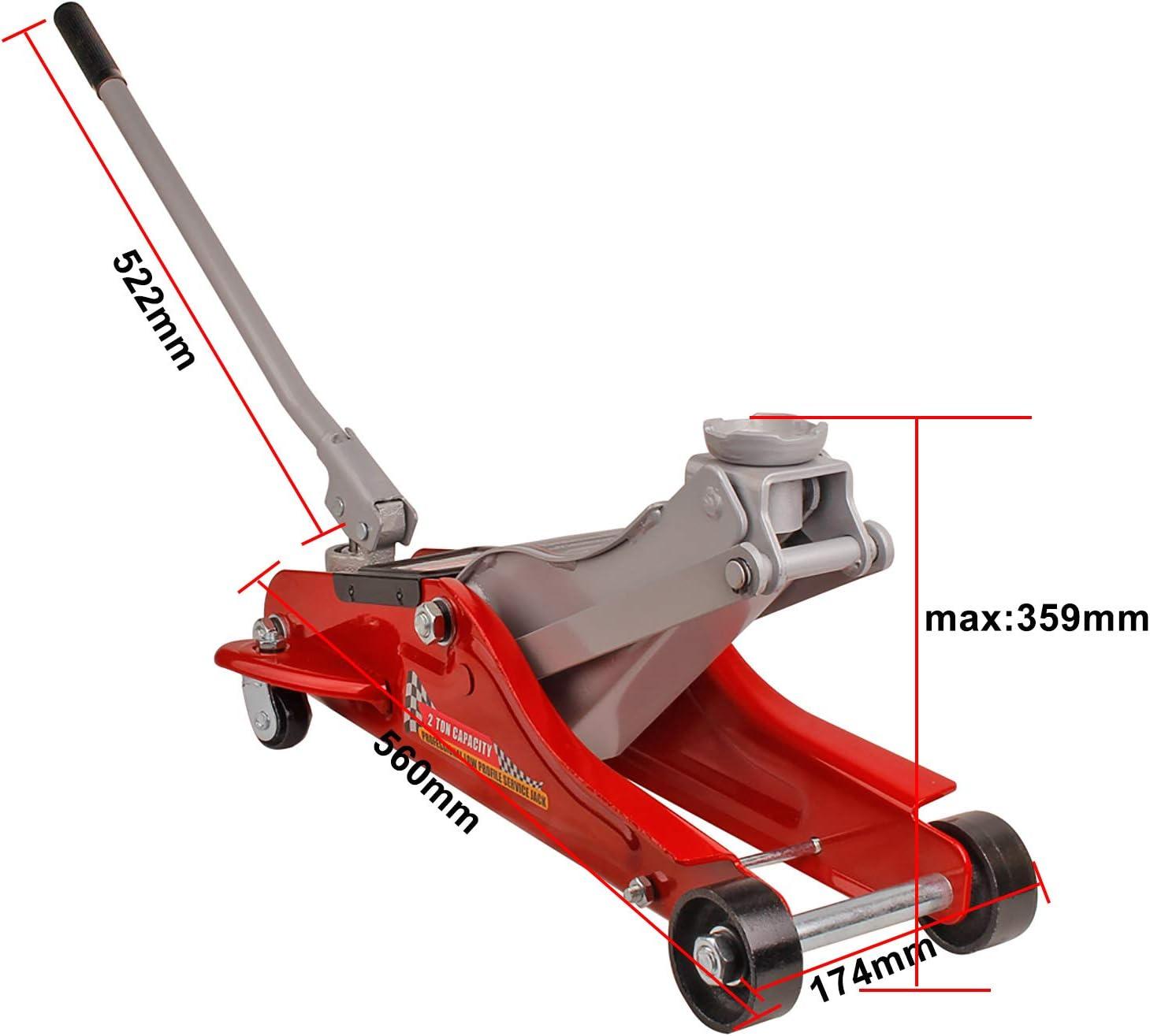 Miafamily Cric hydraulique 2 T Cric Roulant Cric de Voiture Hauteur de Levage 89 mm 359 mm