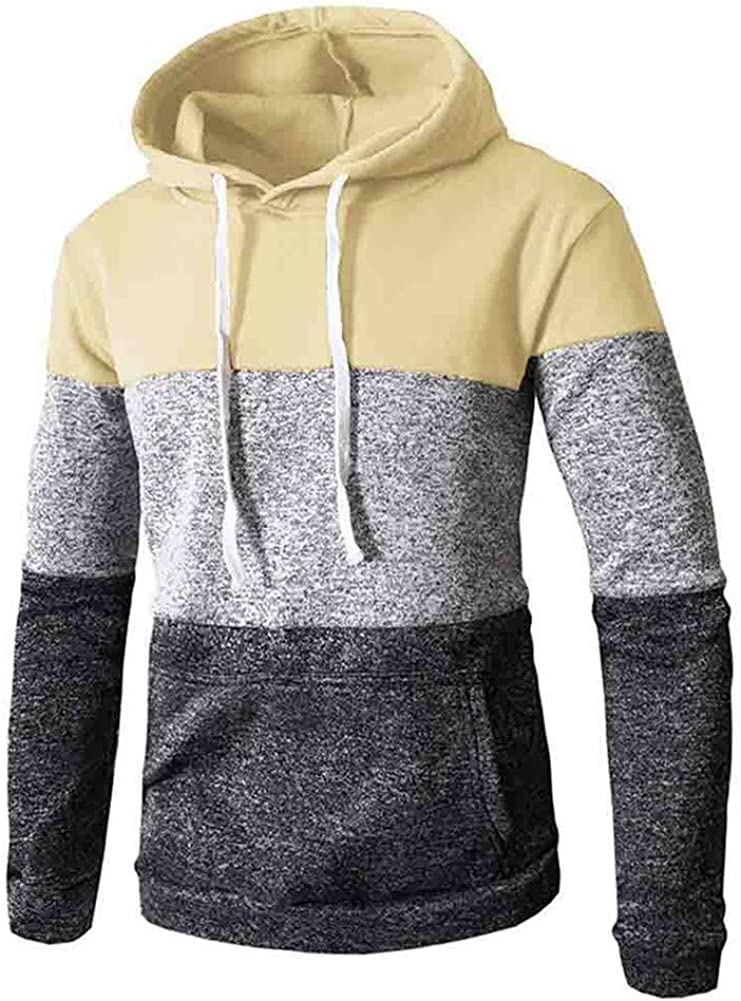 Hoodies for Men,Mens Striped Printed Cowl Neck Patchwork Pullover Hoodies Drawstring Sweatshirts Tops with Pockets