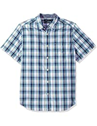 Men's Short Sleeve Plaid Button Down Shirt